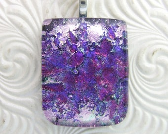 Waterlily Dichroic Pendant, Handmade Fused Glass Jewelry from North Carolina