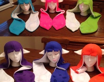 Splatoon Hat Cosplay Inkling Female Squid Hat Costume with/without Ears All Colors Custom Colors