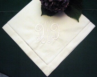 Napkin Set of 12 - Dinner - Linen - Hemstitched - Elegant - Personalized