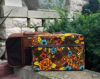 REDUCED  Vintage, Brown, Yellow,  Floral Luggage, Retro, Soft -Side