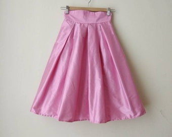 Pink Knee Skirt Silk High Waist Maxi Midi Party Evening Skirt with Pockets, Bridesmaids Skirt, Customize color and length, Plus sizes