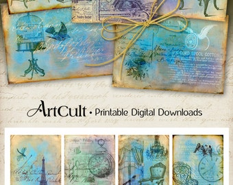 Printable Download TATTERED STORYBOARD gift tags Digital Collage Sheets Vintage ephemera Scrapbooking Paper jewelry holders Art Cult