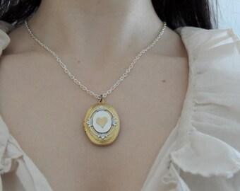 Heart locket // brass heart necklace // love locket