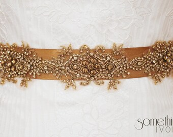 PENNY - Beaded Bridal Wedding Sash in Vintage Dark Gold