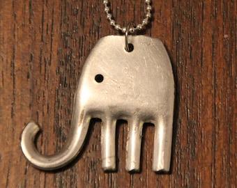 Vintage Silverware Fork Elephant Pendant