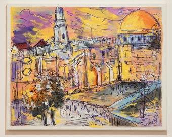 Jerusalem Kotel Western Wall Israel Jewish Painting Jewish Gift Pesach Judaica Wall Art