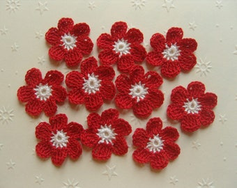 Crocheted appliques, set of 10 red and white flowers