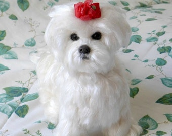Needle Felted Dog / Custom Pet Portrait  / Dolls and Miniature Gift / Art Doll / example Maltese / Extra Large Sculpture shown