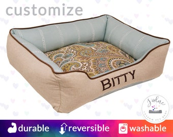 Paisley Dog Bed or Cat Bed  |Paisley, stripe, blue, linen, natural, brown | Washable and High Quality!