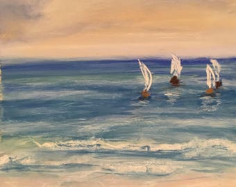 Seascape pastel painting with white yacht sailing boats