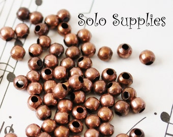 100 3mm Antiqued Copper Round Beads