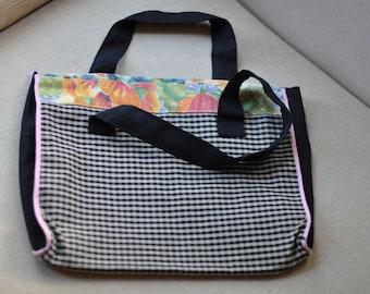 Textile Tote. Black Floral Tote Bag. Textile Tote Bag. Printed Textile Tote. Carry Bag. Tote.