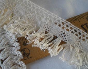 "Ecru Cluny Lace & Tassel Fringe trim 1.75"" wide cotton retro BTY yards fine thread sewing crafts costume home decor natural off white fringe"