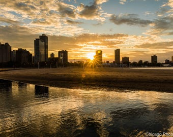 Chicago Sunset | North Avenue Beach | Chicago Photography | Fine Art Photo | Affordable Wall Art | Art and Collectable | Color Print | Gift