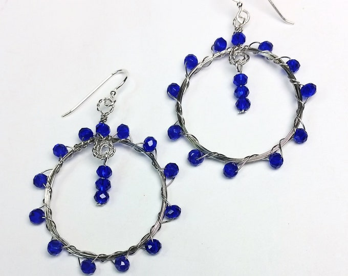 Cobalt Blue Crystals Woven onto Handmade Hoops Earrings - Blue Earrings - Dangle Earrings