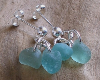 Natural Sea Glass Sterling Silver Studs Post Earrings Soft Teal Seafoam (331)
