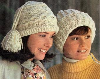 2 Knitting Patterns, Aran Knit Hat Pattern and Ribbed Brim Hat Pattern, Beanie Knitting Patterns, INSTANT Download Pattern PDF (2501)