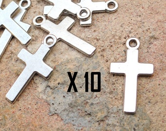 10 charms cross, Christian religion, silver-plated