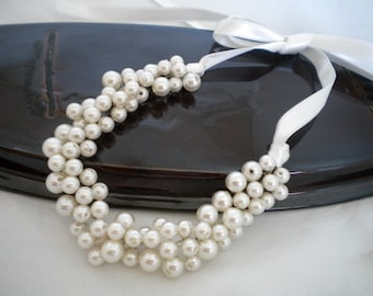 Clothing Gift, Weddings Pearl Necklace,Bridal Jewelry, Statement Necklace
