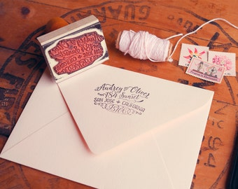 """Calligraphy Inspired Return Address Stamp, Hand Drawn Stamp for Wedding Invitations and Save the Dates, 2.5"""" x 1.5"""", Audrey"""