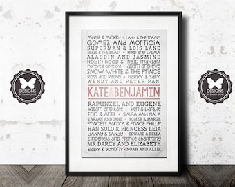 Custom Famous Couples Poster, Personalised Printable Keepsake, Wall Art, Valentines Gift, Wedding Gift, Anniversary Gift, Engagement Gift