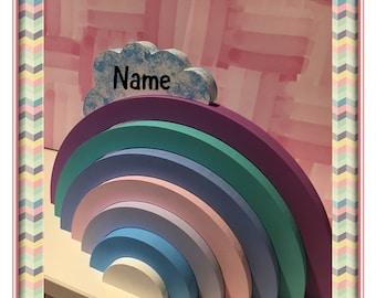 Hand painted rainbow stacker