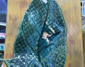 """Ceramic leaves embellished with glass 13 1/2""""-20"""" for tabletop or to hang on the wall"""