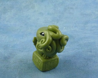 Olive Green Cthulhu Figure with Base, Original Horror Sculpture Inspired by H.P. Lovecraft