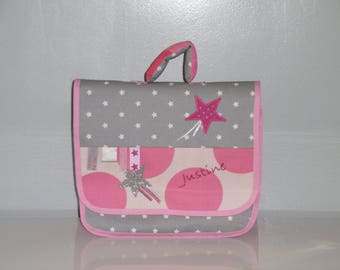 Kindergarten school bag pink and gray with stars and ribbons