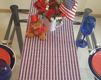 Fourth of July Table Runner,  Independence Day Table Runner, Patriotic Table Runner