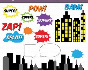 Hero Comic Accessories Digital Art Set Clipart Commercial Use Clip Art INSTANT Download Hero Clip Art ComicText