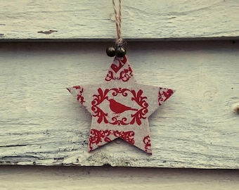 Star Christmas Tree Decoration, jingle bells, Rustic, Vintage Christmas, Home Decor, Cottage Chic