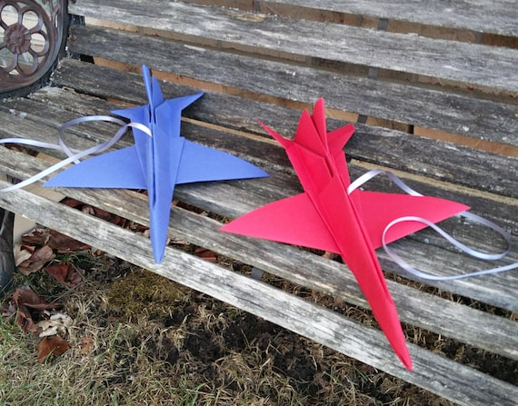 F-16 Paper Airplanes, 17 Inch. CHOOSE YOUR COLORS. Wedding Decoration, Party Favor, Birthday, Travel Wedding, Room Decor Boy