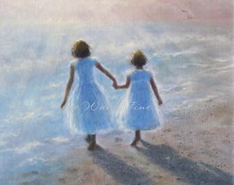 Two Beach Sisters Art Print, two girls beach children ocean paintings two sisters beach wall decor, painting, heavenly,  Vickie Wade art