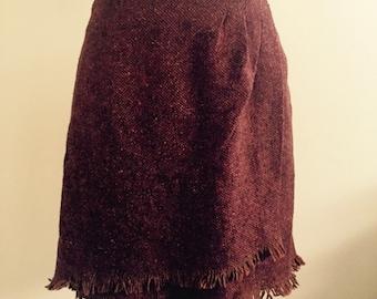 Vintage 90's Small Tweed Wrap Skirt Rust Orange