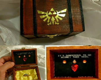 """Nintendo inspired Zelda Engagement Ring Box w/ Quote inside """"It's Dangerous to go alone!...Take this"""". Hand painted and made to order."""