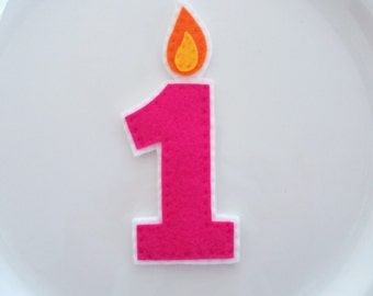 First Birthday Candle Felt, Custom Color, Cake Topper