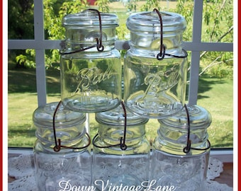 5 Ball Pint Mason Jars with Wire Handles CLEAR