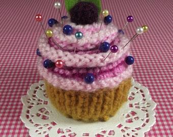 KNITTING PATTERN PINCUSHION Cupcake knit crochet dessert  Amigurumi food Blueberry Sewing Gift pdf Pattern Instant Download step by step