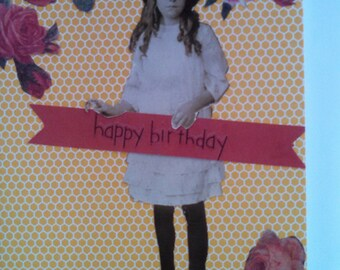 Vintage Girl With Birthday Banner Single Notecard