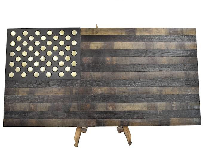 Bourbon Whiskey Barrel Bottle Cap Flag - USA Flag Made From Oak Barrel Wood