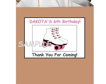 18 PERSONALIZED Roller skating party stickers,birthday,favors,bag box labels,tags,shower,Custom Made