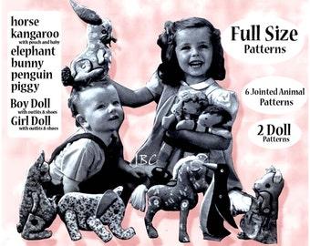 6 Vintage Jointed Toy Animal Pattern Elephant Bunny  Kangaroo  Pony Horse pattern softie sewing pattern Penguin Pig 2 Dolls ebook  ... J245