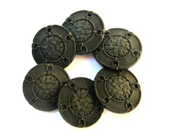 Antique vintage button,  Czech,  glass, black, carved flower, can be use for button jewelry, 23mm