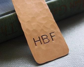 Monogram Bookmark, Hand Stamped, Copper Metal Bookmark, Monogrammed Graduation Gift, Personalized Bookmark, Boyfriend Gift, Gift For Him