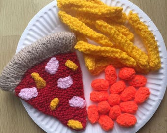 Hand Knitted Pizza Chips & Beans/KnittedFood/Knitted/Toys/SchoolPlay/Display
