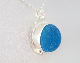 Sea Glass Jewelry Electric Blue Sea Glass Necklace Sea Glass Pendant Blue Sea Glass Pendant Necklace N-638