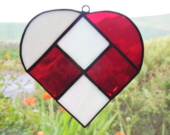 Small traditional Scandinavian stained glass heart