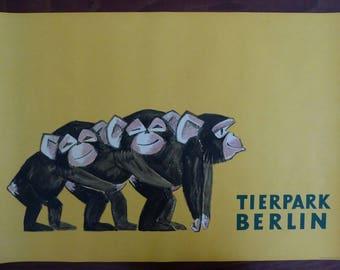 Original Vintage Baby Chimpanzee Zoo Poster 1970s - Rare original authentic great ape poster - Original Berlin Tierpark Zoo Poster
