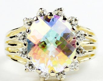 Mercury Mist Topaz, 12 CZ accents, 14K Gold Ring, R170